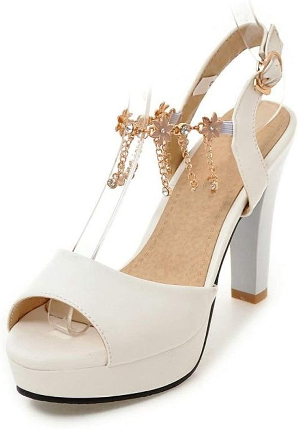 April With You Size 34-43 Office Lady High Heel Sandals Beading Ankle Strap Spike Heel Sandals Summer Vacation