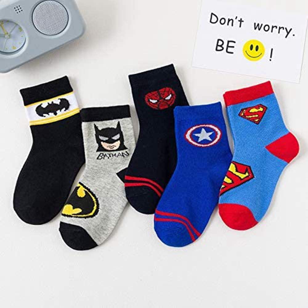 5 Pairs Boys Socks Kids Superhero Adventures Captain America Superman Batman Athletic Crew Socks