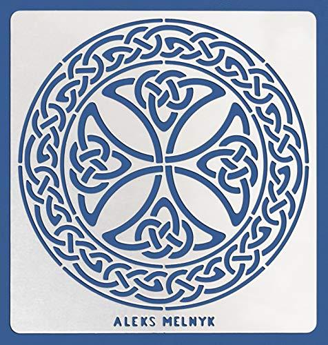 Aleks Melnyk #38.2 Metal Journal Stencil/Celtic Knot, Cross, Scandinavian, Viking Symbol/Stainless Steel Irish Stencils/Template Tool for Wood Burning, Pyrography and Engraving/Crafting/DIY