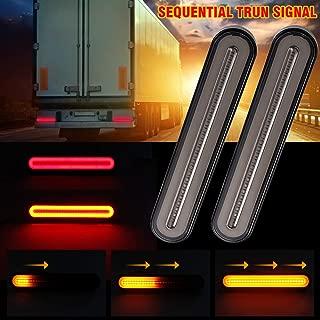 "MIHAZ Trailer Tail Light Bar - 9"" Running, Brake, Sequential Amber Turn Signal Tail Light for Trailer Truck RV Pickup SUV RV Van, Red/Amber 2Pcs 1yr-Warranty"