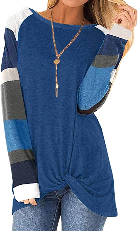 AODONG Sweatshirt for Women,Womens Color Block Sweatshirts Long Sleeve Shirts Crewneck Blouses Casual Tunic Pullover