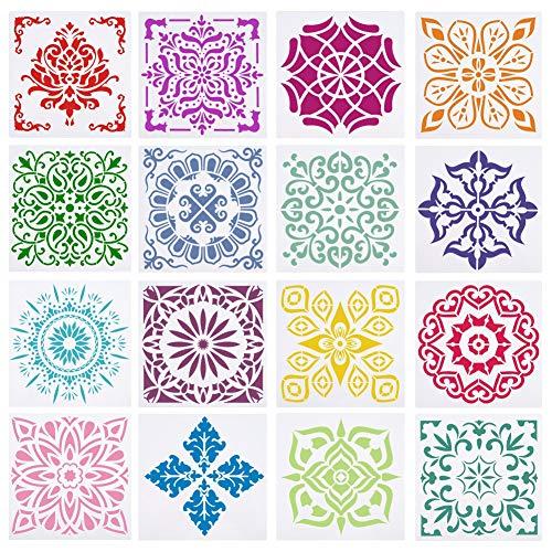 gigitube 16 Stück Mandala Schablonen Set, Mandala Dotting Schablonen, Drawing Mandala Template für DIY Dekor (15 x 15cm)