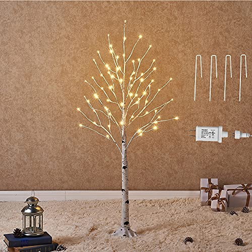 Hairui Lighted White Birch Tree 4FT 72L Prelit Twig Tree Plug in Christmas Thanksgiving Holiday Wedding Party Decorations Indoor Outdoor Use