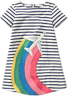 Girls Cotton Short Sleeve Casual Cartoons Applique Unicorn Dress 2-7 Years