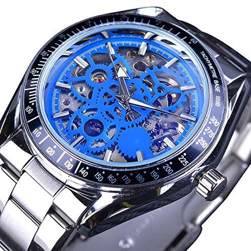 UNJ Blue Gear Movement Reloj de Pulsera automático para Hombre Transparente Reloj de Pulsera mecánico 3D para Hombre,GMT1080-7