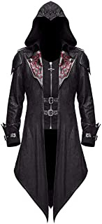 mens gothic hooded trench coat