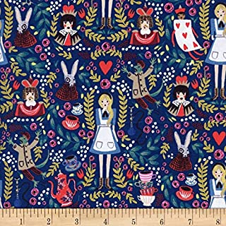 Cotton + Steel Rifle Paper Co Metallic Wonderland Navy Fabric by The Yard