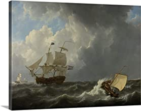 GREATBIGCANVAS Gallery-Wrapped Canvas Ships in a Turbulent Sea, 1826, Dutch Painting, Oil on Canvas by Johannes Christiaan Schotel 24