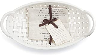 Bread Basket White 15 x 8 Ceramic Earthenware Decorative Bowl With Towel