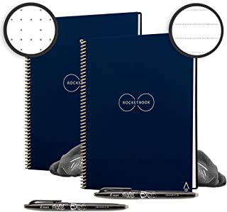 Rocketbook Back to School Bundle - 2 Smart Reusable Notebook Set with 1 Lined & 1 Dot Grid Notebook, 2 Pilot Frixion Pens & 2 Microfiber Cloths - Midnight Blue Cover, Letter Size (8.5
