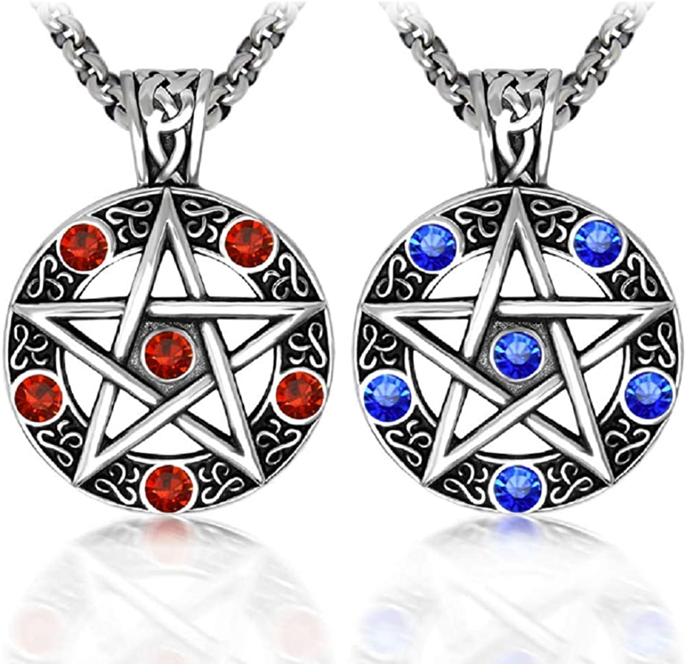 2021new shipping free Stainless Steel Powerful Pentacle Necklaces Tra Pentagram New life Wicca
