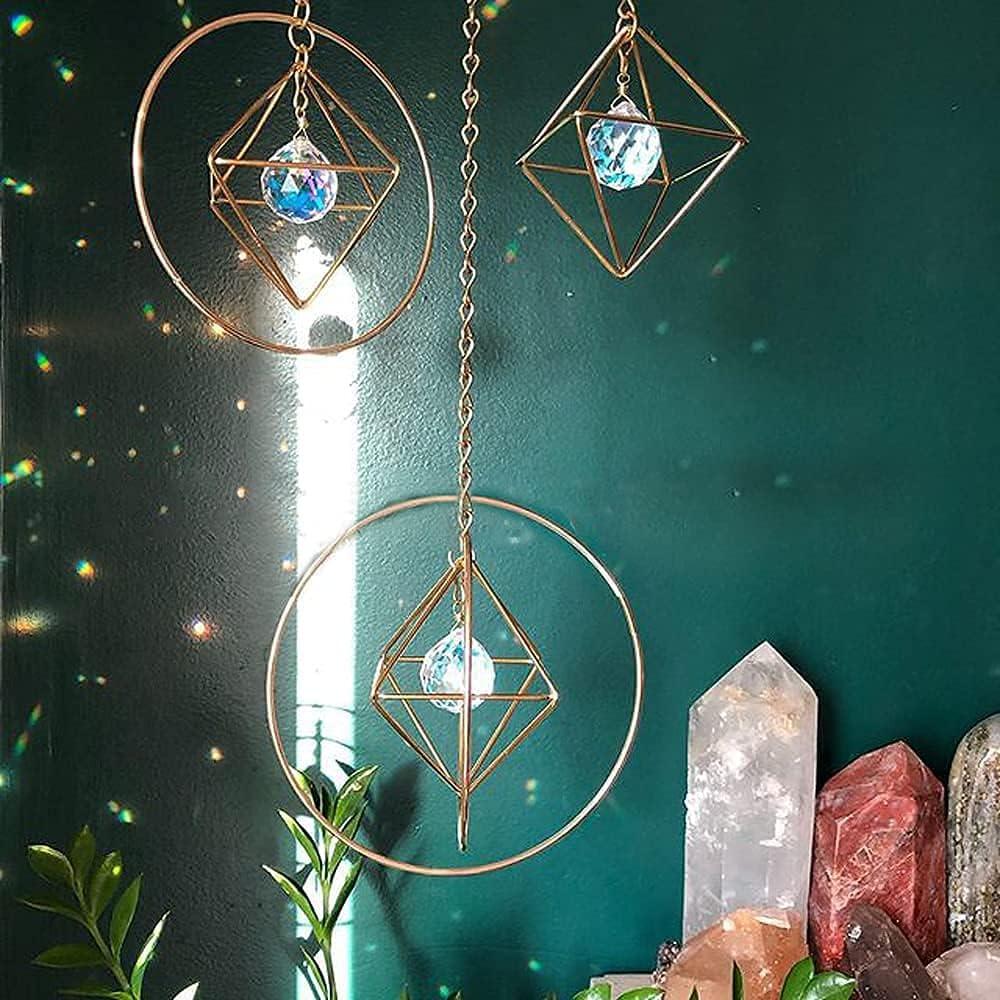 Crystal Suncatcher LOOGOOL Sun Catchers Cage Window Hanging Rainbow Maker Home Decor Gift, Boho Love Wall Decoration Set of 3