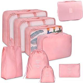 9 مجموعات من مكعبات التعبئة من GuaziV، مجموعة منظمات حقائب السفر مع حقيبة أدوات الزينة المعلقة (وردي)