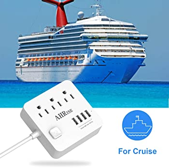 Power Strip, AHRISE Extension Cord(5 Ft) with 3 AC Outlets and 4 USB Charging Ports(5V/4.8A,24W) for Smartphone Table...