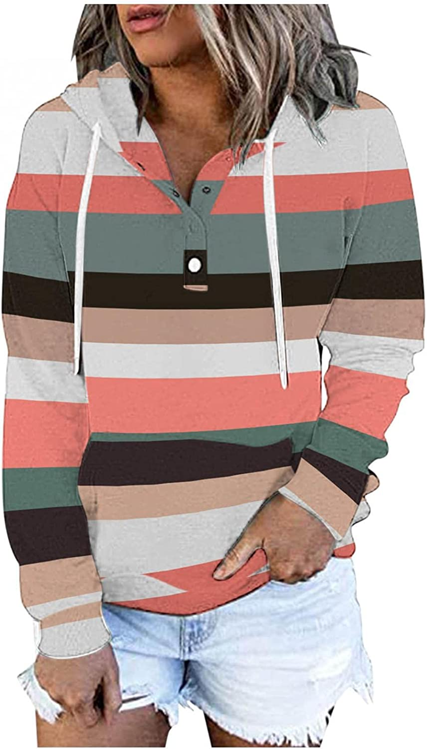 Hoodie for Women Pullover,Womens Button Collar Printed Hooded Sweatshirt Striped Long Sleeve Pullover Top Fall Clothes