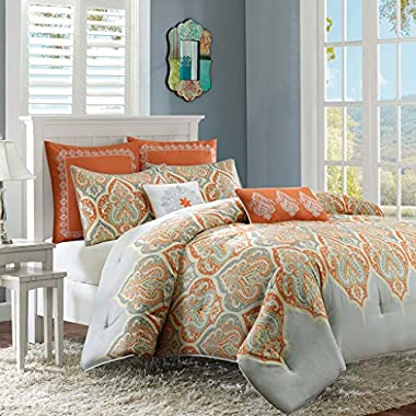 Madison  Nisha Comforter Set, Full/Queen, Orange