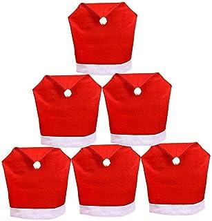 Tenrany Home Rojo Decoración Navideña Fundas para Sillas Juego de 6 Gorro de Papá Noel Cubiertas de la Silla Cubre Respal...
