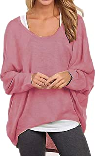 I2CRAZY Women's Casual Tunic Tops Oversized Long Batwing Sleeve Off-Shoulder Pullover Sweater