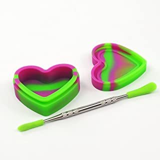 YHSWE Silicone Oil Container Heart Shape 17ml Non-stick Concentrate Jar for Wax Purple/Green 1Piece