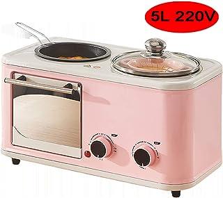 MAOMAOQUEENss Mini Horno EléCtrico De 5L con SartéN Y Olla, MúLtiples Funciones De CoccióN Y Parrilla, Control De Temperatura Ajustable, Temporizador - 1200W,Pink