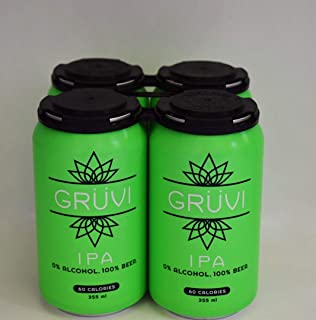 Gruvi IPA Non-Alcoholic Beer, 60 Calories, 4-Pack, 0% ABV, Zero Alcohol Beer, NA Beer