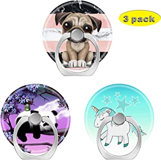 Cell Phone Holder Socket,Finger Ring Pop Kickstand with Car Mount Grip for Phones,Cases,Tablets Stripes Marble White Black Pink Watercolor Pug Puppy Dog Panda Blue haired Unicorn and Stars