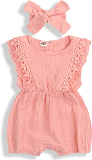 Kcsllca Baby Girls Lace Romper Set Ruffle Sleeve Solid Color