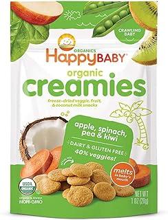 Sponsored Ad - Happy Baby Organic Creamies Freeze-Dried Veggie & Fruit Snacks with Coconut Milk Apple Spinach Pea & Kiwi, ...