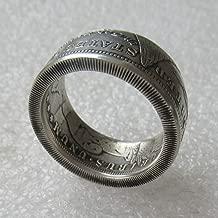 jooact Handcraft Morgan Dollar Coin Ring Vintage Silver Plated Handmade Ring Random Date Tails Version