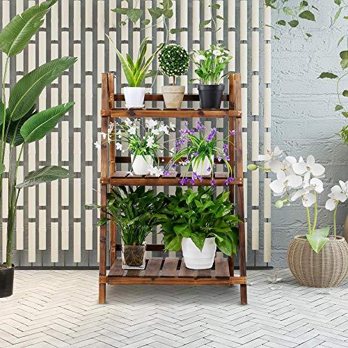YAHEETECH 3 Tier Folding Wooden Plant Stand Wood Organizer Flower Pot Stand Plant Display Shelf Rack Ladder Garden Indoors Outdoors 23.6 x 15 x 36.6in