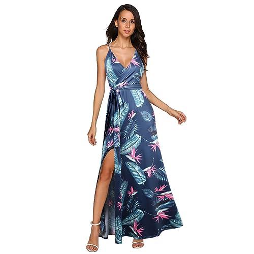 7c1ba5c08 GlorySunshine Women Vintage V-Neck Split Side Maxi Long Evening Gown  Dresses Upgrade