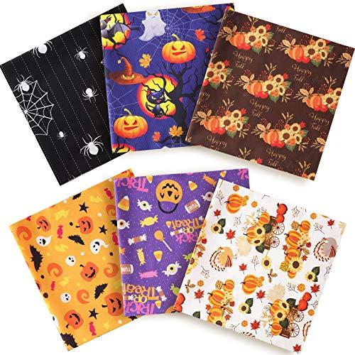 6 Piezas Telas Estampadas de Algodón 19,6 x 19,6 Pulgadas Telas Patchwork de Calabaza de Halloween, Telas de Costura de Manualidades de Patrón de Girasol de Acción de Gracias para Costura DIY de Ropa