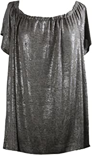 cbc40b75d73 Inc International Concepts Plus Size Silver Metallic Off-The-Shoulder Top X