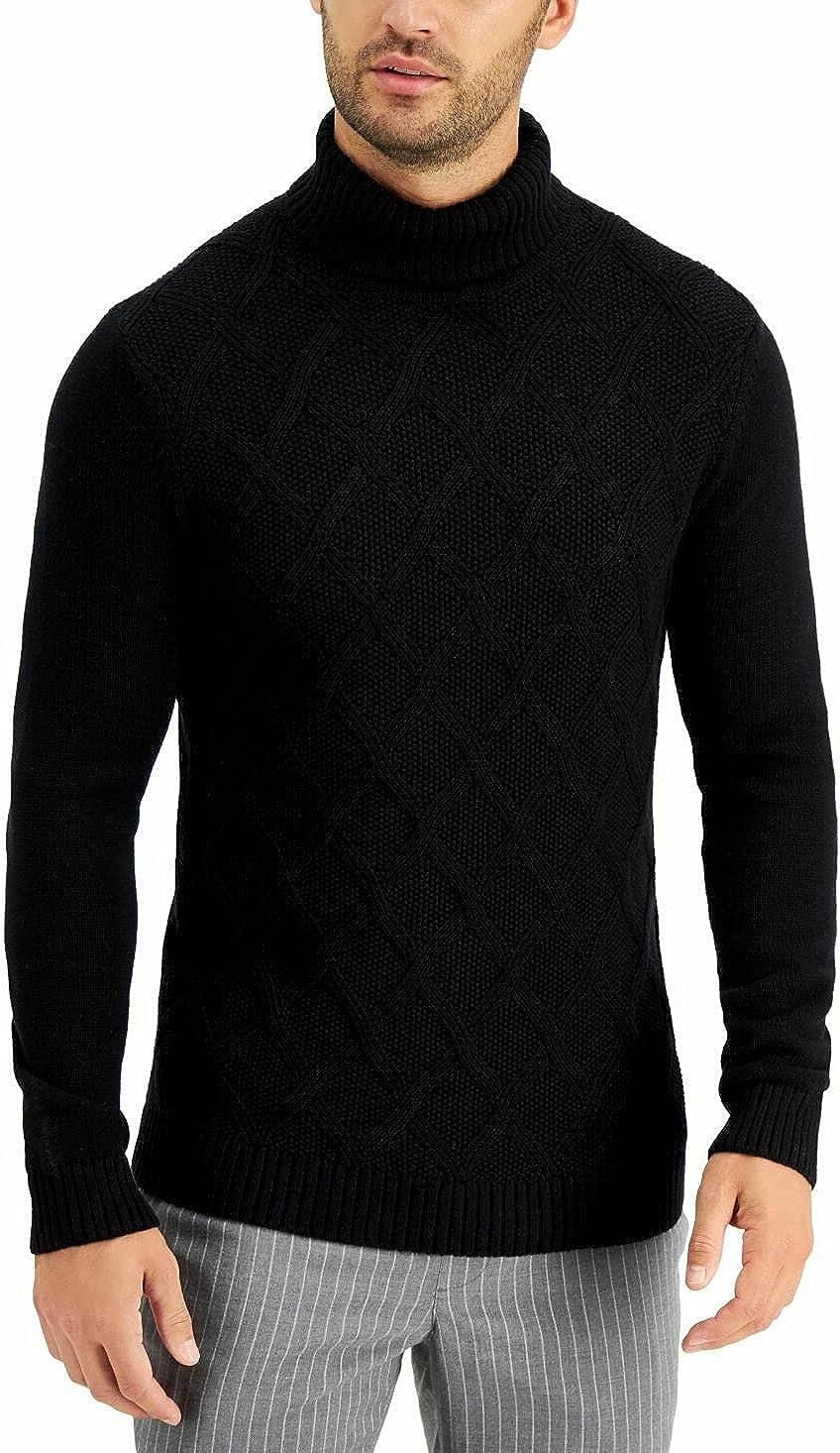 Tasso Elba Mens Sweater Large Pullover Turtleneck Chunky Black L
