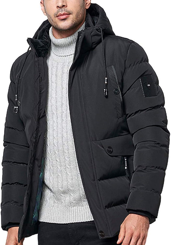FANOUD Coat Winter Hoodie Zipper Pocket Thickened Men Cotton Outwear Jacket Coat