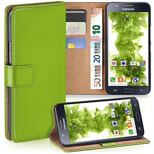 MoEx Premium Book-Case Handytasche kompatibel mit Samsung Galaxy J5 (2015) | Handyhülle mit Kartenfach und Ständer - 360 Grad Schutz Handy Tasche, Grün