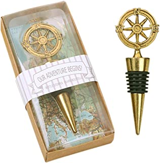 Yansanido Wedding Favor for Guests,Pack of 24 Wine and Beverage Bottle Stopper Silver Anchor Shape Wine Accessories and Gifts (24pcs Compass Gold)