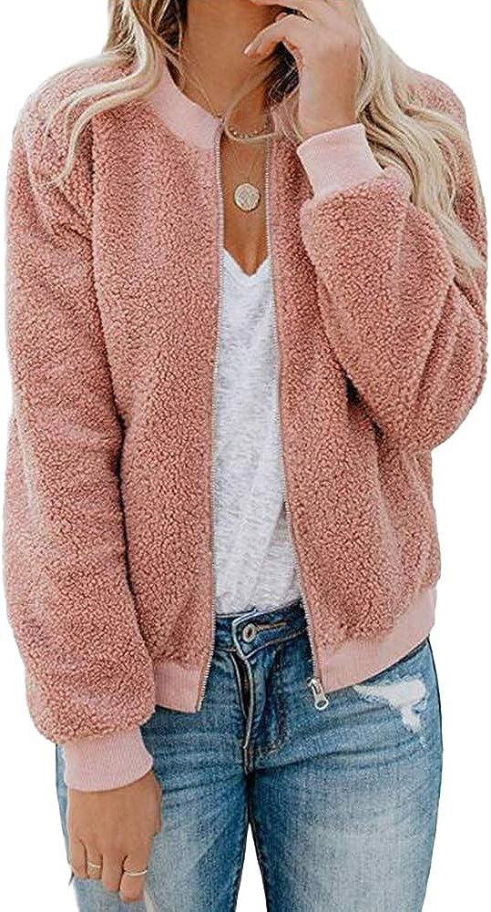 XZMY Women Casual Long Sleeve Fuzzy Fleece Bomber Jacket Faux Sherpa Zip Up Coat Pockets
