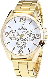 Geridun Sport Design Mens Wrist Watch, Gold Stainless Steel Watch with White Dial