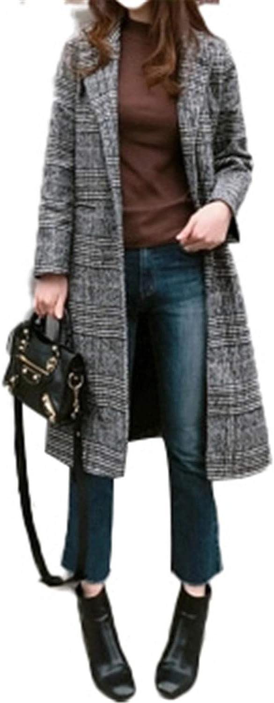BA outerwear New Spring Autumn Women's Wool Plaid Coat Long Woolen Coat Slim Type Female Winter Wool