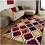 Superior Modern Viking Collection, 8mm Pile Height with Jute Backing, Geometric Trellis Pattern, Anti-Static Area Rugs - Royal Blue, 4' x 6' Rug