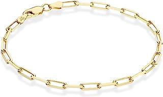 Miabella Solid 18K Gold Over Sterling Silver Italian 3mm Paperclip Link Chain Bracelet for Women Men, 7, 7.5, 8 Inch 925 M...