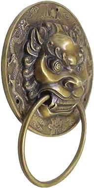 Knocker,Classical Handle Chinese Door knob Copper Door Knocker Antique Handle Copper Beast Temple Door Handle Retro Handle An