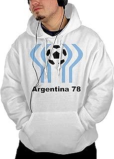 Argentina 1978 World Cup Soccer Host Logo Soccer Men's Adult Big Workout Pockets Shirt Long Sleeve Hoodie White