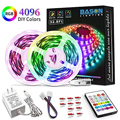 Bason Led Strip Lights, LED Lights for Bedroom 32.8ft, RGB Light Strip with Remote, 4096 DIY Colors, 300 LEDs SMD 5050 LED Color Changing Lights, Power Supply for Room, Kitchen Indoor Decorations.…
