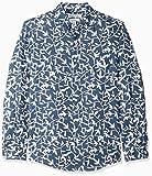 Amazon Essentials - Camisa de lino con manga larga, corte entallado y estampado para hombre, Diseño hojas azul marino, US M (EU M)