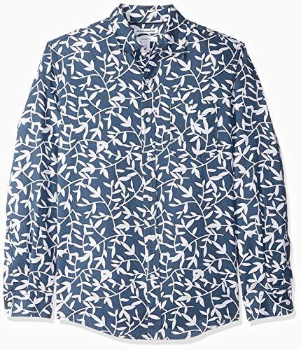 Amazon Essentials Camisa de Lino y algodón de Manga Larga Ajustada Hombre