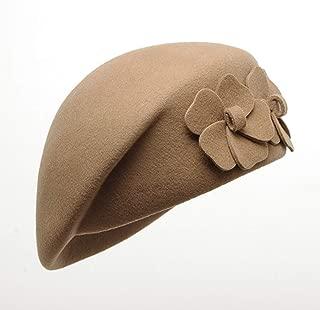 Hat Female Autumn Winter bretlet Wool Keep top Warm Top hat Cap` TuanTuan (Color : Camel, Size : L)