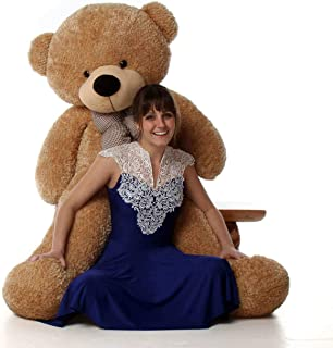 GURUDEV RT Stuffed Teddy Bear Brown 6 ft with Neck Bow 180 cm Heart Shape Cushion