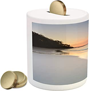 Lunarable Australia Piggy Bank, Serenity and Peace at Sunset on Murrays Beach Soft Tones Heavenly Scenery, Printed Ceramic Coin Bank Money Box for Cash Saving, Multicolor